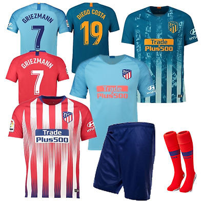 18-19 Season Soccer Kids Boy League Jersey Kits Short Sleeve Shorts Outfit+Socks
