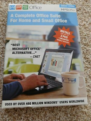 WPS Office 10 Business Edition 3 PCs 1 Year License New in Box 851225006281