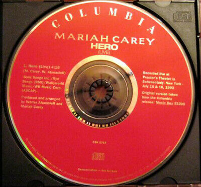 Mariah Carey ‎– Hero (Live) ( Columbia ‎– CSK 5703 - RARE PROMO-ONLY SINGLE)
