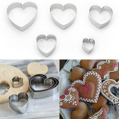 5Pcs Metal Cookie Cutter Set Heart Shape Biscuit Cake Pastry Baking Mold Tools