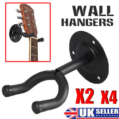 UK Guitar Wall Hanger - 2 / 4 Pack - Electric/Acoustic/Classical/Bass -