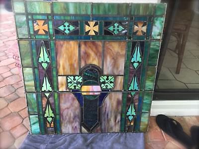 """Antique Vtg Church/ ART DECO Stained Glass Window Architectural Salvage ~ 31"""""""