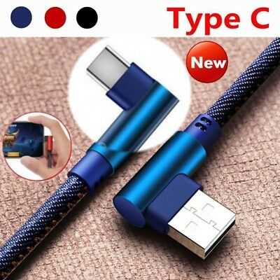 1/2M TypeC 90 Degree Right Angle USB C 3.1 Braided Fast Data Sync Charging Cable