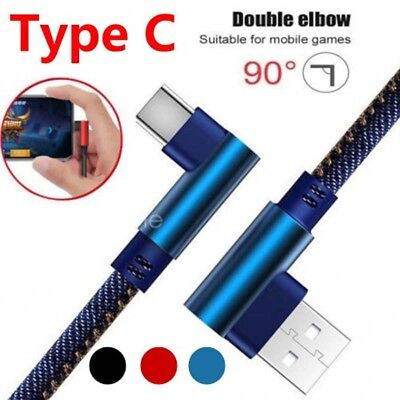 Type C 90 Degree Right Angle USB C 3.1 Braided Fast Data Sync Charging Cable /D6