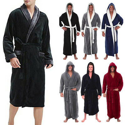 US Mens Winter Solid Plush Lengthened Shawl Bathrobe Home Clothes Long Robe Coat