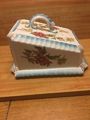 Antique J.H.W. & Sons Hanley England Peony #507 Storage Container Cheese Butter