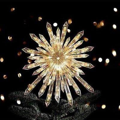 Christmas Tree Topper Lighted Crystal Star 50 Lights Xmas Holiday Decoration NEW