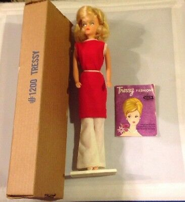 Vintage Tressy #1200 American Character Doll Original Box Stand Clothes Flyer