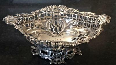 19th C Henry Charles Freeman Sterling Silver Finely Reticulated Bon Bon Dish