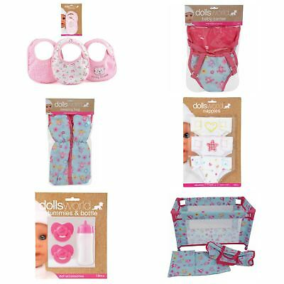 Dolls World Accessories - Nappies, Bottles, Carriers, Travel Cots