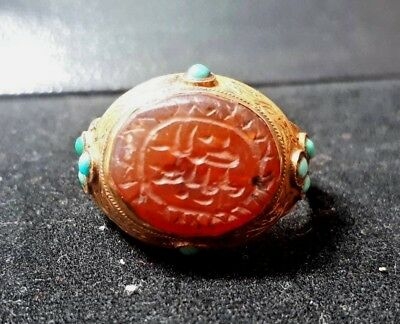 Ancient Carnelian Islamic Blessing Letter Good Fortune Pure Solid 22K Gold Ring