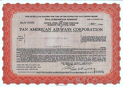 Pan American Airways Corporation, Warrant, 1945 (50 Units)