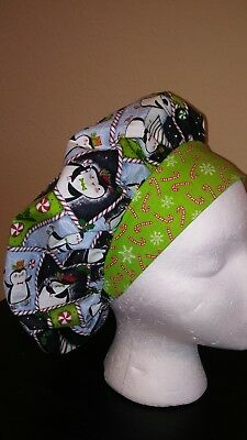Penguin Christmas Women's Bouffant Surgical Scrub Hat/Cap Handmade