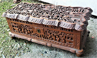 NO RESERVE Chinese Well Carved Wooden Box Vintage Antique