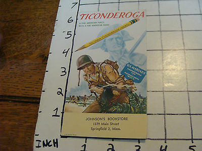Vintage Unused BLOTTER:Ticonderoga pencil Johnson's bookstore MARINES ON IT