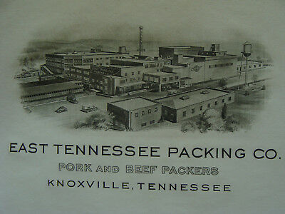 orig 1940s Printing ex. PHOTOGRAVURE Letterhead: EAST TENNESSEE PACKING knowvill