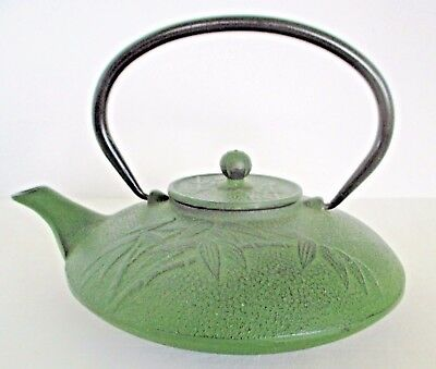 Japanese Cast Iron Green Enamel Tetsubin Teapot - Bamboo and Dot