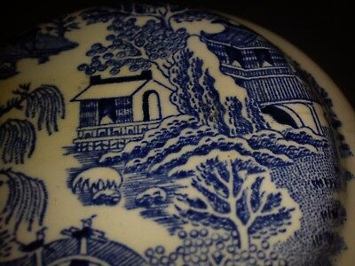 Mason's for Ringtons Ltd Blue White Willow Pattern Lidded Ginger Tea Caddie Jar