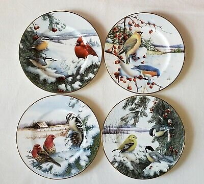 Lenox Winter Greetings Scenic Salad/Dessert/Accent Birds Plates Set of 4 New