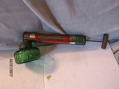 Vintage Hand Pump Metal Sprayer w/Green Glass Tank by Root-Lowell Chicago, Ill