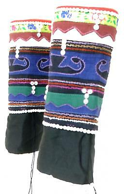 Hmong Tribal Thai Laos Leg Warmers Ethnic Ethical Festival Embroidered Clothing