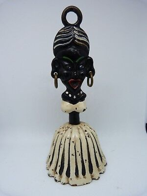 RARE ANTIQUE CAST IRON TABLE BELL IN FORM OF BLACK NATIVE FEMALE - EARLY 1900s