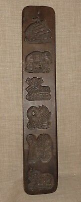 "Prim Antique~Hand Carved 21"" Wooden Dutch Cookie Or Maple Sugar Candy Mold"