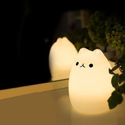 Cute Cat 7 Color LED Night Light Silicone Soft Lamp For Children Nursery Baby GD
