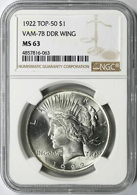 1922 TOP-50 VAM-7B DDR Wing Peace Silver Dollar $1 NGC MS63