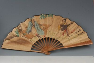 CHINESE EXQUISITE HANDMADE ANCIENTS PATTERN BAMBOO FAN  COLLECTION bh952