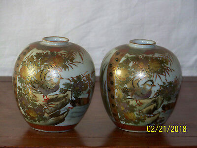 Pair-Satsuma Meiji Period Hand Painted Signed Japanese Vases