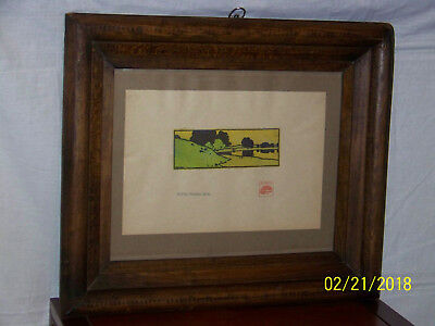 Arthur Wesley Dow Antique c1900 WoodBlock Bayberry Hill Landscape Print
