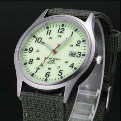 Popular Military Army Mens Date Canvas Strap Analog Quartz Sport Wrist Watch Gif