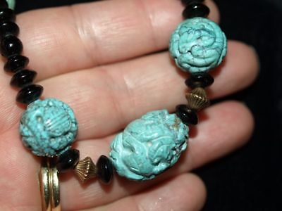 Antique Vintage Carved Chinese CARVED Hubei Turquoise Bead Necklace 22.5""