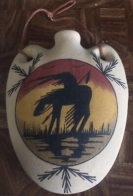 Native American Sand Art Signed Wall Hanging Planter