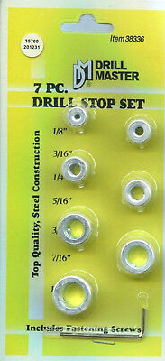 Drill Master 38336 - Drill Stop Set 7 Pc Depth Stop shop hand tools NEW [X1-1]