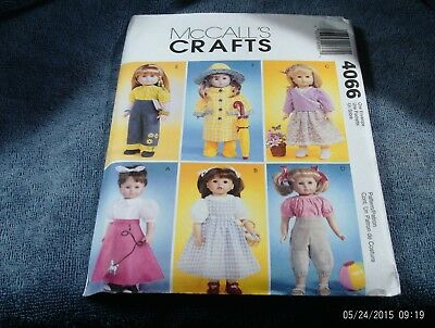 """23. McCALLS 4066-18"""" DOLL CLOTHES (FOR ALL AMERICAN DOLLS)~~NEW"""