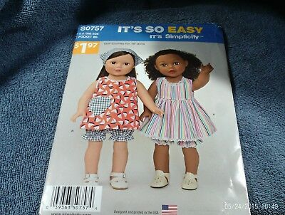 """36. Simplicity S0757~~18"""" Doll Clothes~~(All American Dolls)--Used"""