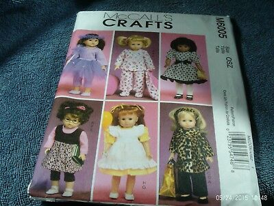 """42. McCALLS 6005~~18"""" DOLL CLOTHES~~(ALL AMERICAN DOLLS)--USED"""