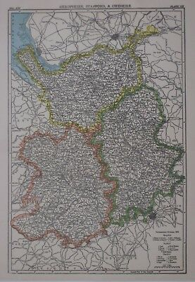Original 1886 County Map STAFFORD CHESHIRE SHROPSHIRE England Shrewsbury Chester