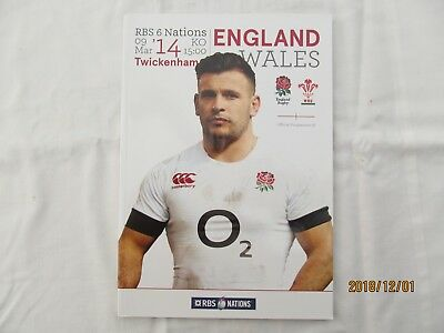 England v Wales. 6 Nations Rugby Union. Programme. 9th March 2014.