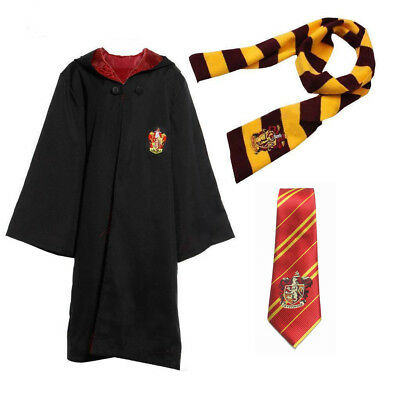 Kids Adult Harry Potter Gryffindor House Costume Robe Cloak+Scarf+Tie Cosplay