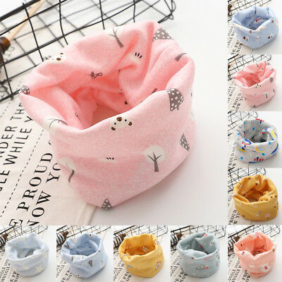 Autumn Winter Newborn Kid Boys Girls Baby Print Scarf Cotton O Ring Neck Scarves