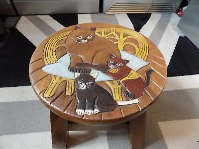 Hand Carved Hard wood Cat carving, Children's Wooden Step Stool FAB QUALITY