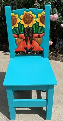 """Colorful Mexican wood chair hand carved sunflowers very heavy & 39"""" tall  sturdy"""