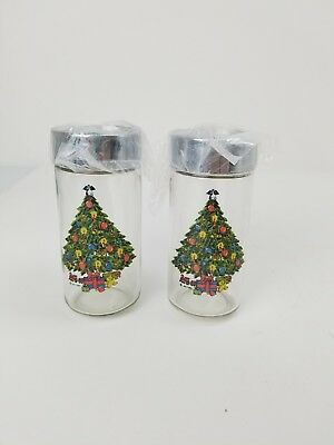 Vintage Clear Glass Column Christmas Tree Salt and Pepper Shaker