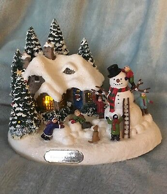 Vintage Thomas Kinkade Teleflora Everetts Cottage Lighted Christmas Cottage 1998