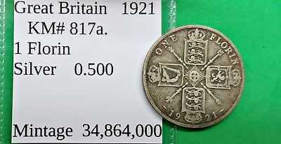 World Foreign Old British Silver 1921 Florin Coin KM#817a Two Shilling 2 !!