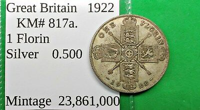 World Foreign Old British Silver 1922 Florin Coin KM#817a Two Shilling 2 !!