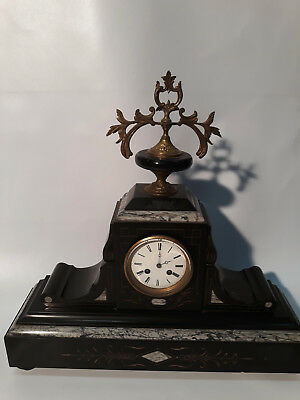 Vintage stone, glass and brass mantle clock